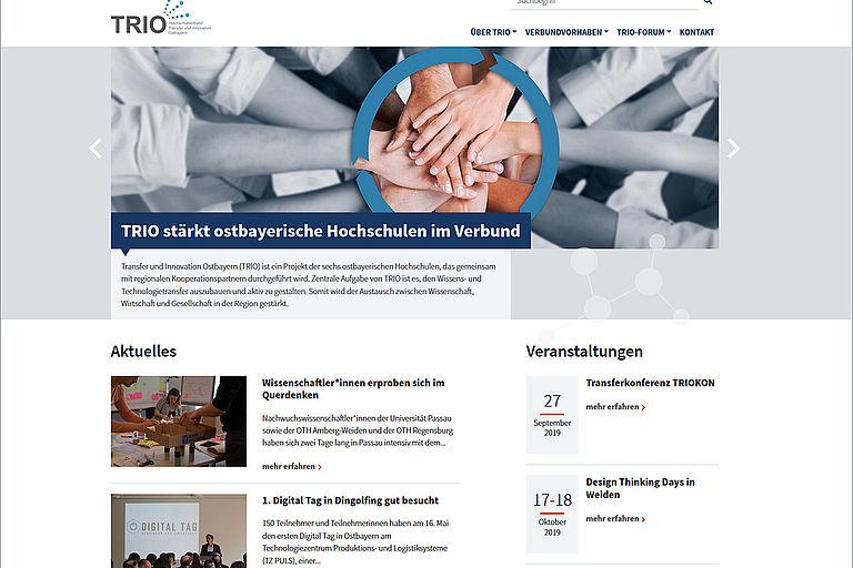 Startseite der TRIO Website