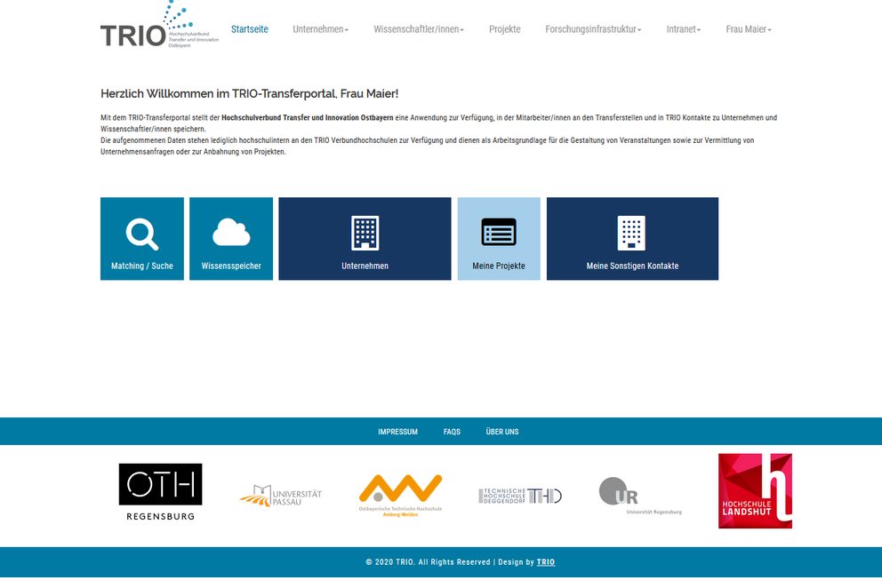 Startseite des TRIO-Transferportals