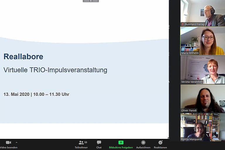 Screenshot aus der virtuellen Impulsveranstaltung über Reallabore, Foto: Regina Bäumler
