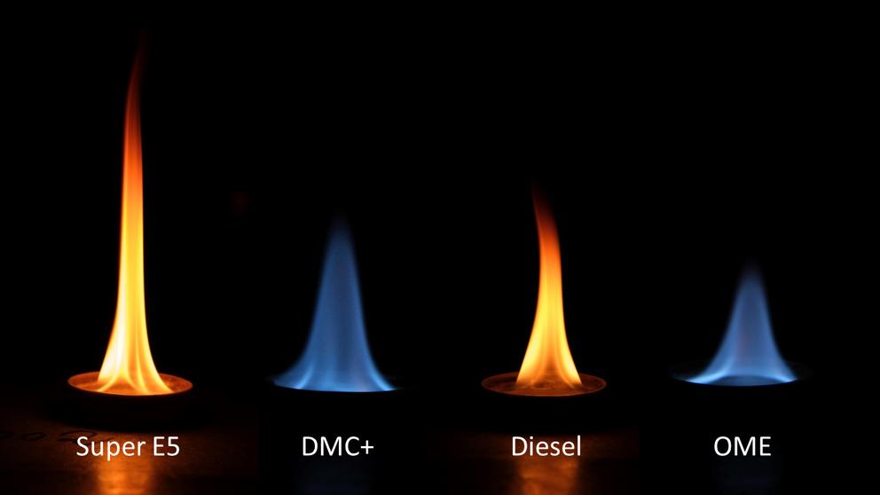 Bild: Verbrennung der sythetischen Kraftstoffe im Vergleich