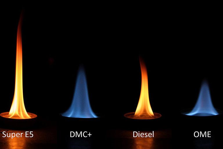 Die synthetischen Kraftstoffe DMC+ und OME verbrennen deutlich rußärmer als Super E5 und Diesel.