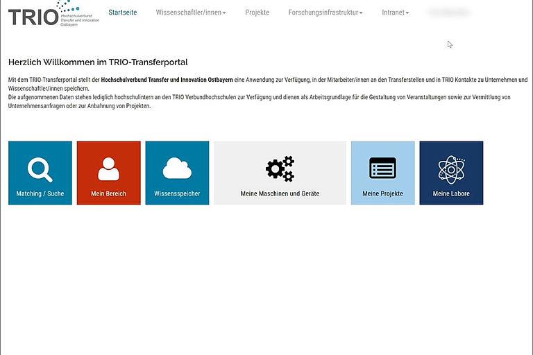 Screenshot des TRIO-Transferportals