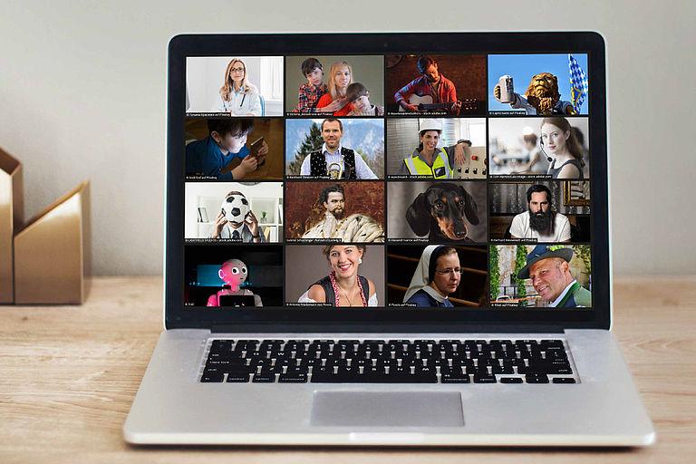 Monitor mit vielen verschiedenen Gesichtern
